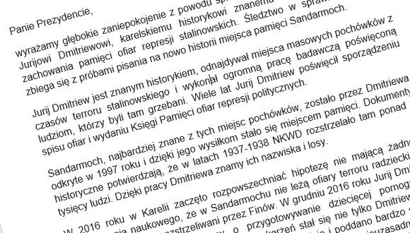 List otwarty do Władimira Putina w obronie Jurija Dmitriewa