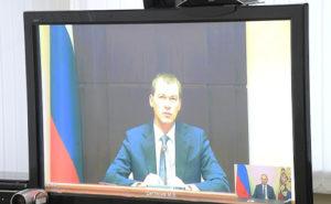 Michaił Degtiariow podczas spotkania on-line z Władimirem Putinem - zdjęcie kremlin.ru